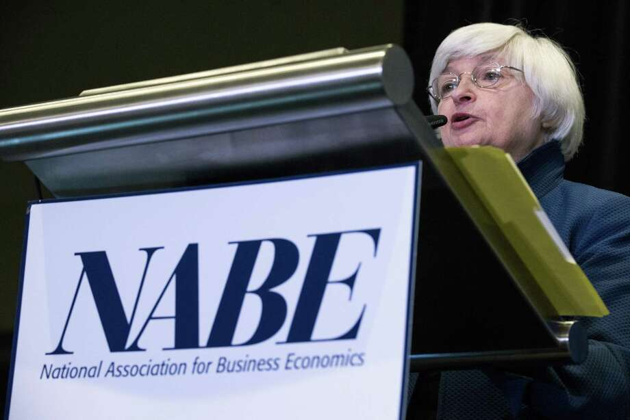 Janet Yellen, chair of the U.S. Federal Reserve, speaks during the National Association for Business Economics annual meeting in Cleveland, Ohio on Tuesday. Yellen said raising interest rates gradually is the most appropriate policy stance now at a time of higher uncertainty about inflation. Photo: Ty Wright /Bloomberg / © 2017 Bloomberg Finance LP