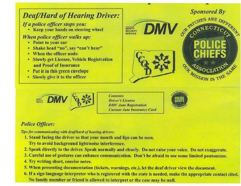 Special envelopes are intended to allow deaf people and officers to communicate efficiently. Photo: Contributed Image