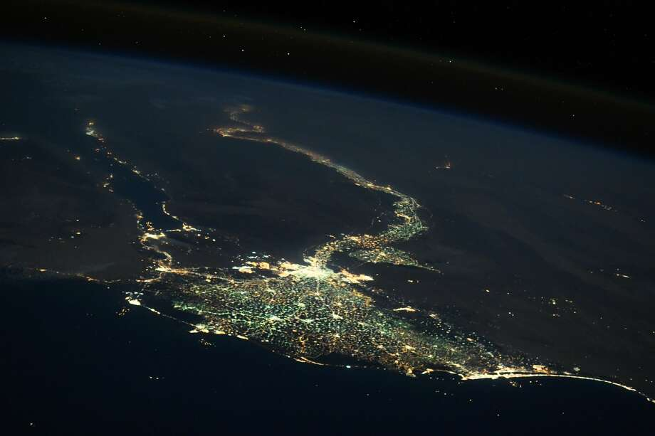 Original caption:The river #Nile at night - amazing view from #space! Photo: Sergey Ryazansky/NASA
