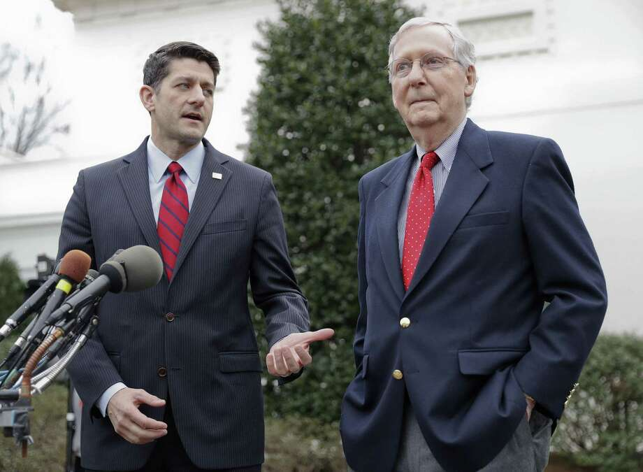 By hitching their wagon to Donald Trump, House Speaker Paul Ryan (left) and Senate Majority Leader Mitch McConnell have made themselves irrelevant when the president makes deals with Democrats. Photo: Pablo Martinez Monsivais /Associated Press / Copyright 2017 The Associated Press. All rights reserved.
