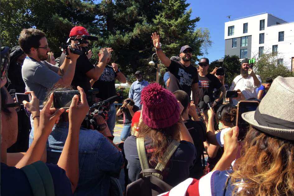 Joey Gibson, whose canceled San Francisco's past Crissy Field rally, gives a speech to ~50 in People's Park on Sept. 26, 2017.