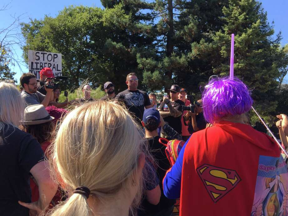 """Kyle Chapman, who faces eight years in state prison, is claiming a """"war against whites"""" as he speaks in a Berkeley park on Sept. 26, 2017. Photo: Kimberly Veklerov"""