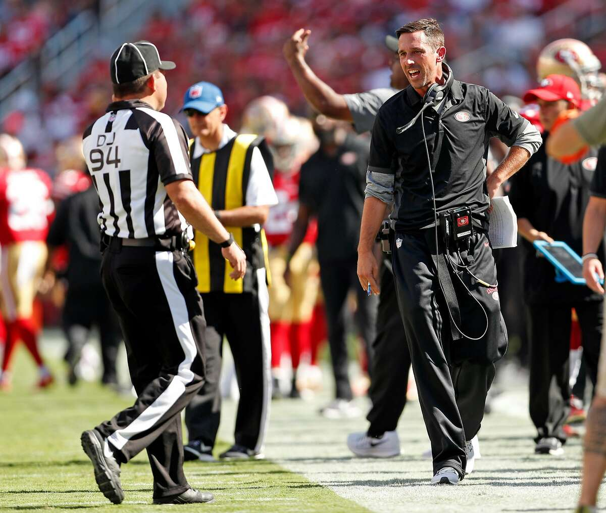 San Francisco 49ers' head coach Kyle Shanahan complains about a non-call in 4th quarter of Carolina Panthers' 23-3 win in NFL game at Levi's Stadium in Santa Clara, Calif., on Sunday, September 10, 2017.