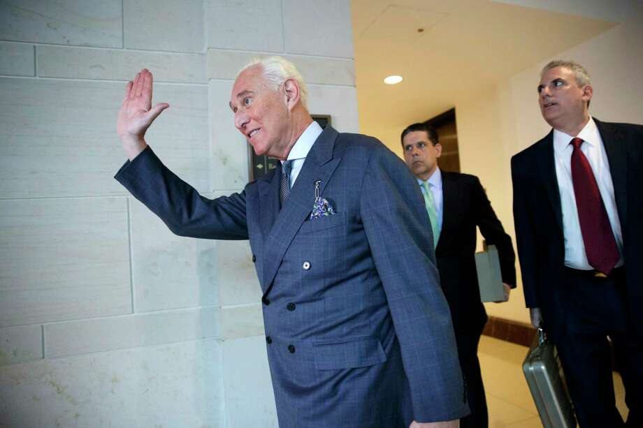 Roger Stone arrives to testify as part of a House panel's investigation into Russian meddling in the 2016 U.S. election. Photo: J. Scott Applewhite, STF / Copyright 2017 The Associated Press. All rights reserved.