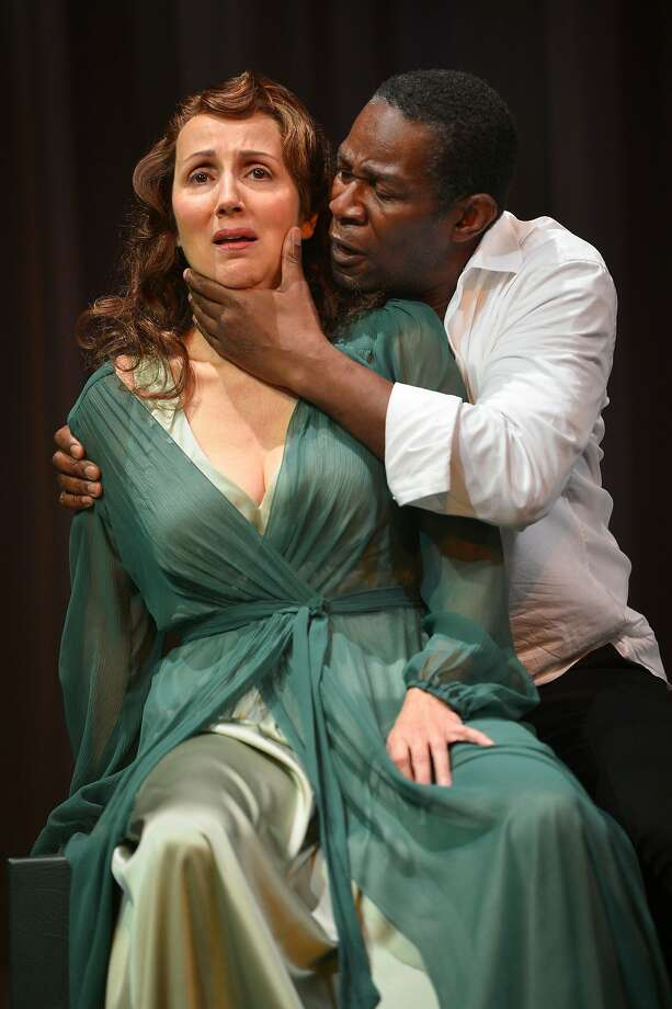 Left: Hamlet (John Douglas Thompson) and his mother, Gertrude (Domenique Lozano), have a disagreement. Photo: Kevin Berne, American Conservatory Theater