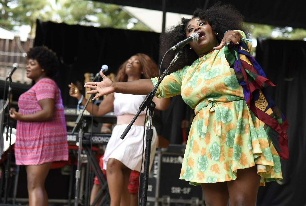 MOUNTAIN VIEW, CA - JUNE 24: Tarriona Ball of Tank and the Bangas performs during the ID10T Festival at Shoreline Amphitheatre on June 24, 2017 in Mountain View, California.
