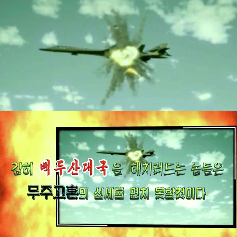"This combination of images made on Tuesday, Sept. 26, 2017, from propaganda video released by North Korea state-run media shows a simulation of a B-1B bomber being hit by a missile. Military analysts say North Korea doesn't have the capability or intent to attack U.S. bombers and fighter jets, despite the country's top diplomat saying it has the right do so. They view the remark by North Korean Foreign Minister Ri Yong Ho and a recent propaganda video simulating such an attack as responses to fiery rhetoric by U.S. President Donald Trump and his hardening stance against the North's nuclear weapons program. Words say ""Those who dare try to harm the Great Nation of Mount Paektu would never escape the fate of becoming a wandering ghost."" (DPRK Today via AP) Photo: HOGP / DPRK Today"