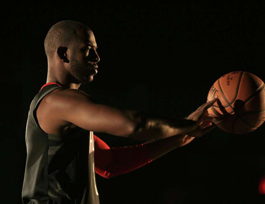 Rocket's Chris Paul (3) films a video during the Houston Rockets media day on Monday, Sept. 25, 2017, in Houston. ( Elizabeth Conley / Houston Chronicle ) Photo: Elizabeth Conley, Staff / © 2017 Houston Chronicle