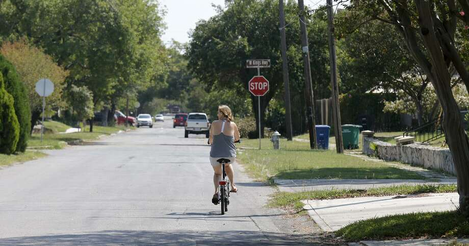 A cyclist rides along Vollum Avenue in the Monticello Park Historic District. Click ahead for the most dangerous intersections for bicyclists in San Antonio.  Photo: Edward A. Ornelas /San Antonio Express-News / © 2017 San Antonio Express-News