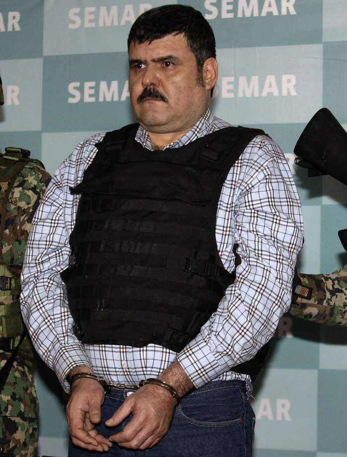 """Jorge Eduardo Costilla Sanchez, aka """"El Coss,"""" is presented to the media in Mexico City in September 2012 after his capture. Costilla has pleaded guilty to conspiracy drug charges and assault, federal authorities said Tuesday. Photo: Dario Lopez-Mills /Associated Press / AP"""