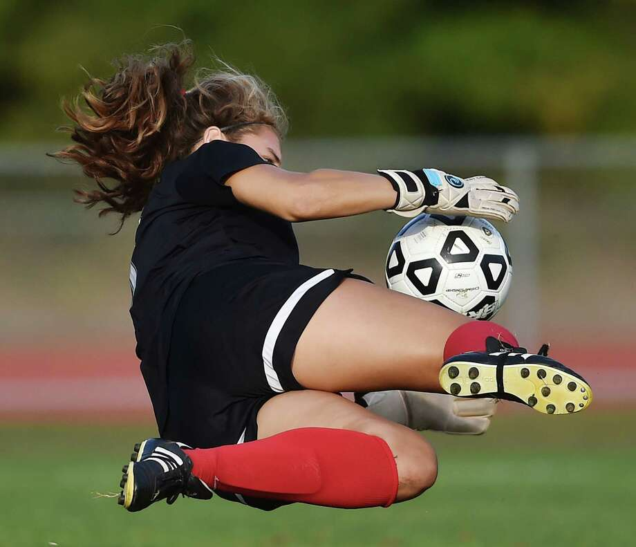 North Branford junior goalie Allie Augur makes a save against Lyme-Old Lyme, Tuesday, September 26, 2017, at North Branford High School. Old Lyme won, 1-0. Photo: Catherine Avalone, Hearst Connecticut Media / New Haven Register