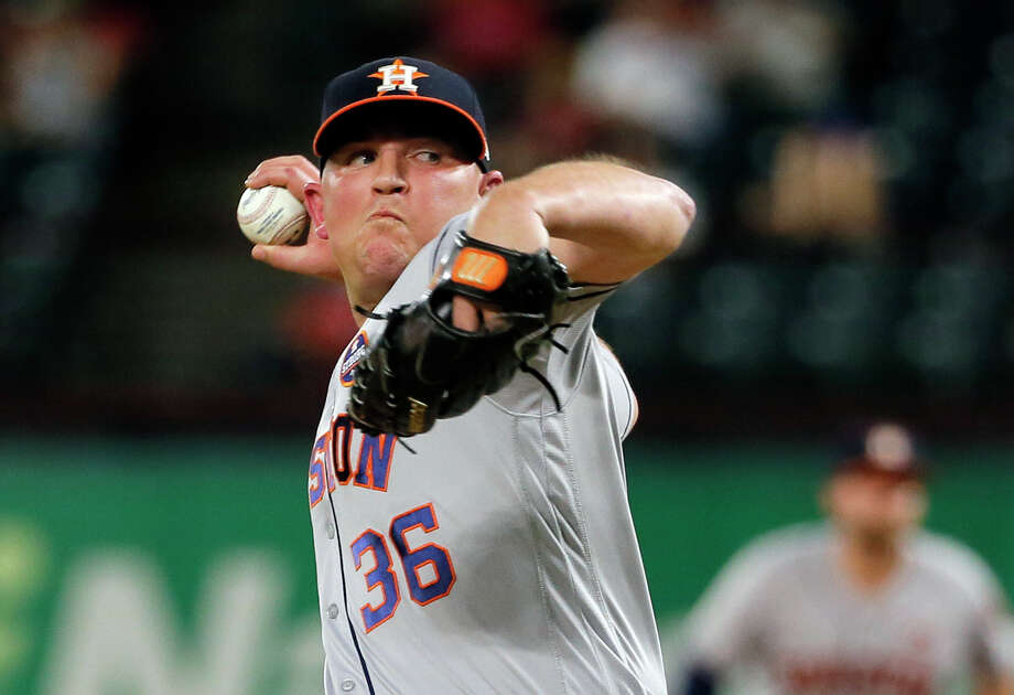 Houston Astros relief pitcher Will Harris (36) throws to the Texas Rangers in the seventh inning of a baseball game, Tuesday, Sept. 26, 2017, in Arlington, Texas. (AP Photo/Tony Gutierrez) Photo: Tony Gutierrez, Associated Press / Copyright 2017 The Associated Press. All rights reserved.
