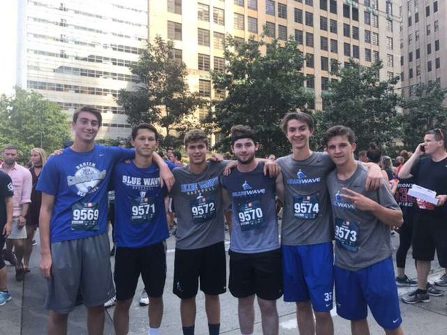 Darien baseball players that participated in the Tunnel to Tower Run, from left to right, Jackson Vaught, Justin Van de Graaf, Max Gasvoda, Art Xanthos, Fin Batson and Justin Jordan. Photo: Contributed Photo / Darien News contributed