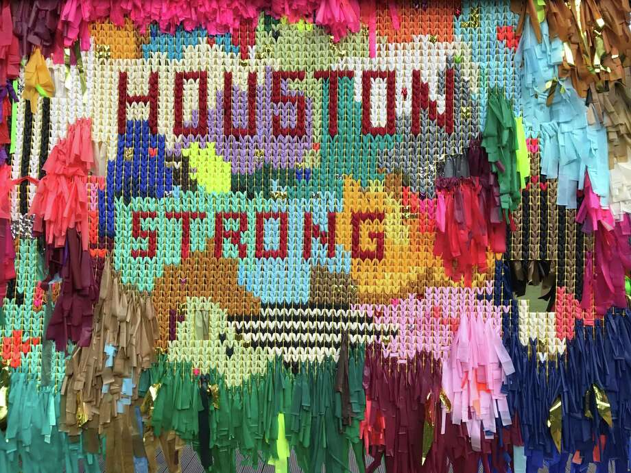 """The Color Connection added a """"Houston Strong"""" mural to their """"Arcade"""" installation at Avenida de las Americas after Hurricane Harvey. Photo: Molly Glentzer, Houston Chronicle"""