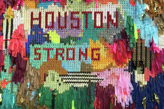 "The Color Connection added a ""Houston Strong"" mural to their ""Arcade"" installation at Avenida de las Americas after Hurricane Harvey."