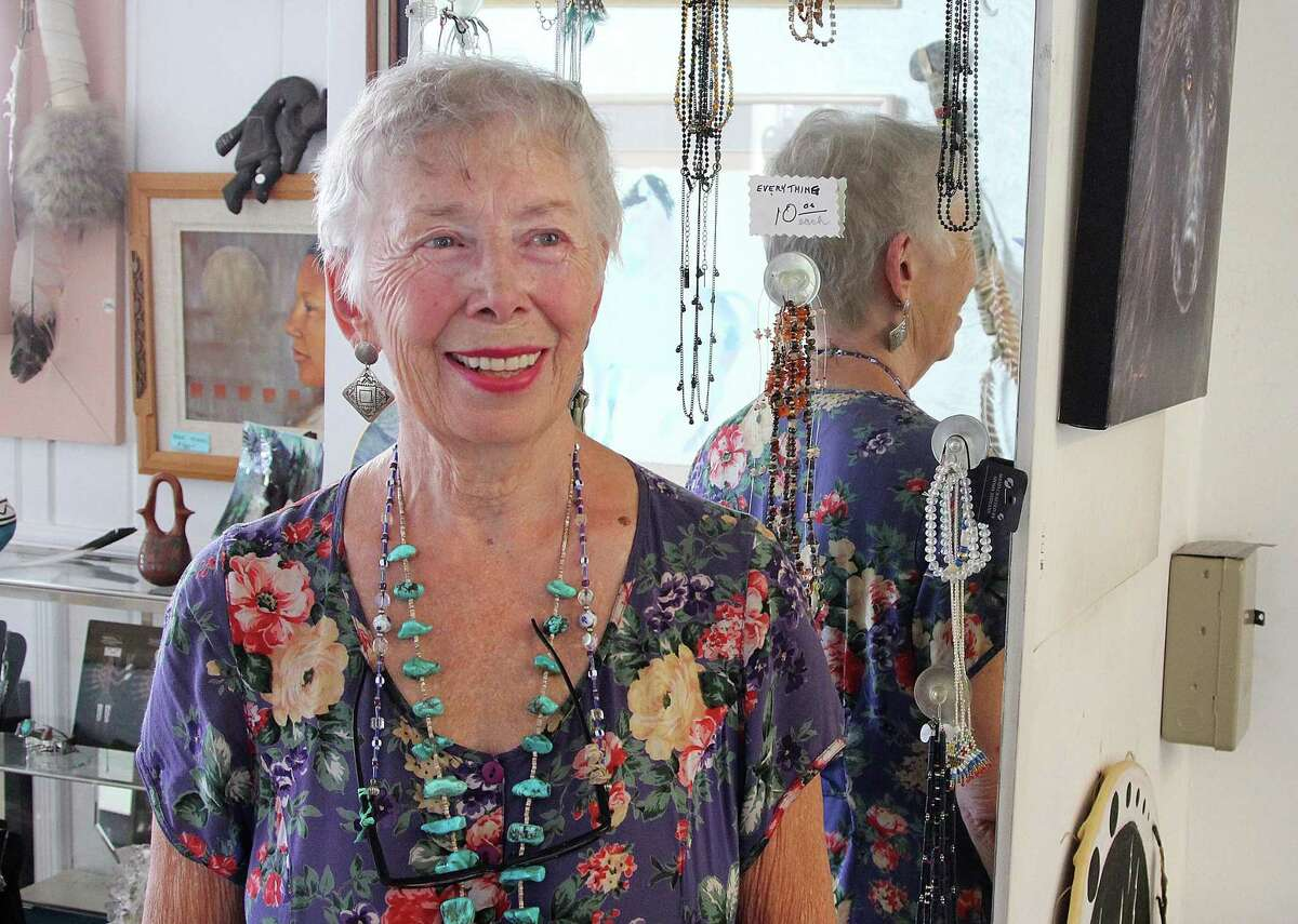 Marge Courtney stands in her Native American store Touch of Sedona in downtown Ridgefield, Conn., on Monday, Sept. 25, 2017. Courtney opened last week a similar store in Bethel, Conn.