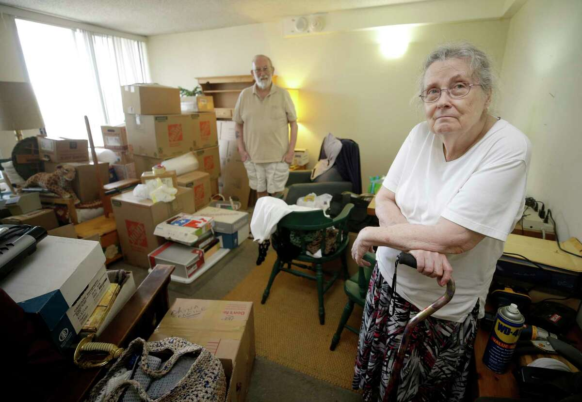 Peg Sauter and her husband, Ron Sauter, talk about having to move from their apartment in 2100 Memorial, a building for seniors that's flooded numerous times, shown Tuesday, Sept. 26, 2017, in Houston.