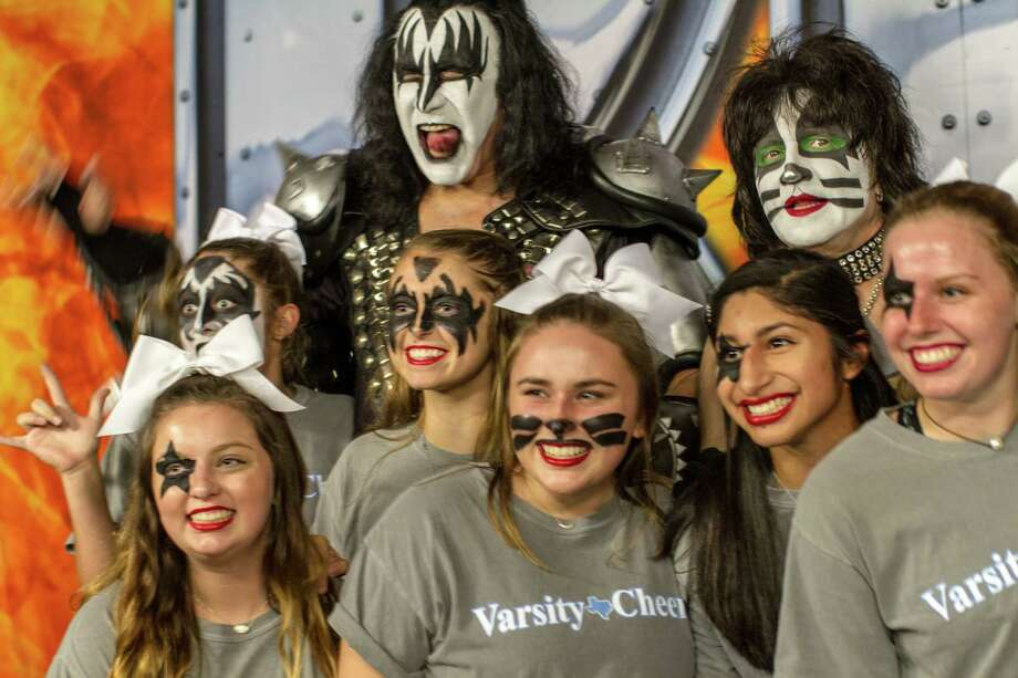 Several hundred Kingwood High School students joined KISS during the Sept. 26 concert at Smart Financial Centre at Sugar Land to launch a fundraising campaign. The school's band and orchestra musical instruments and theatre department costumes and equipment were lost in the Hurricane Harvey disaster. Photo: The CKP Group