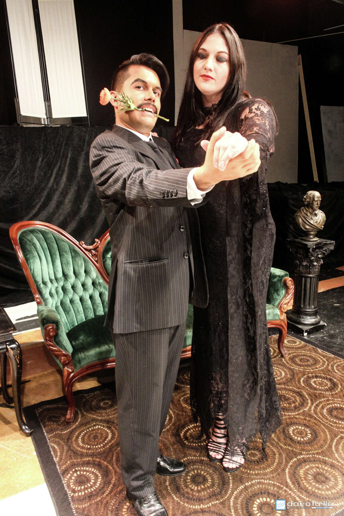 """Michael Rodriguez as Gomez Addams and Amy Morneau as Morticia Addams see life as a (macabe) dance in Pasadena Little Theatre's production of """"The Addams Family,"""" which is onstage Oct. 13-29 at the theater, 4318 Allen-Genoa Road, Pasadena."""
