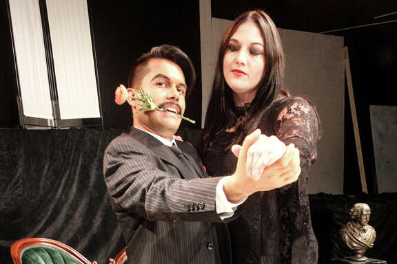 "Michael Rodriguez as Gomez Addams and Amy Morneau as Morticia Addams seek to resolve some marital issues through dance in ""Tango Del Amor"" in Pasadena Little Theatre's production of ""The Addams Family,"" which is onstage through Oct. 29 at the theater, 4318 Allen-Genoa Road, Pasadena."