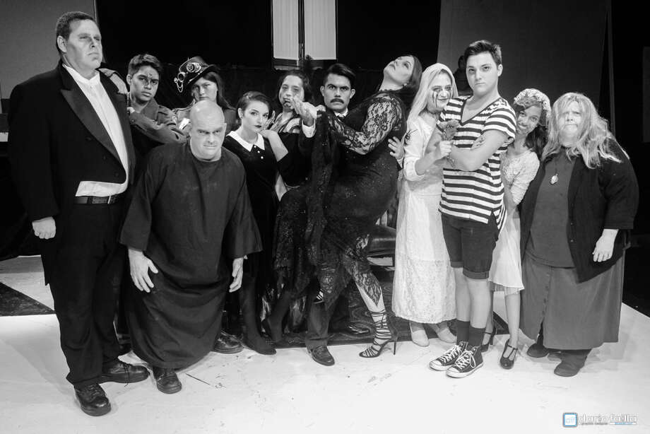 "Cast members of Pasadena LIttle Theatre's ""The Addams Family"" include, from left,: Robert Wise, Isaiah Fernandez, Steve Walker, Emily Morneau, Luci Galloway, Avry Diaz, Michael Rodriguez, Amy Morneau, Rebeccah Bauerlein, Matthew Hailey, Nina Kaskar and Janet Sharpey."