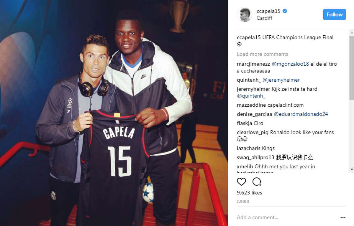 CLINT CAPELA Clint Capela met soccer star Cristiano Ronaldo before the UEFA Champions League final in the United Kingdom. Real Madrid won and Ronaldo was named Man of the Match.
