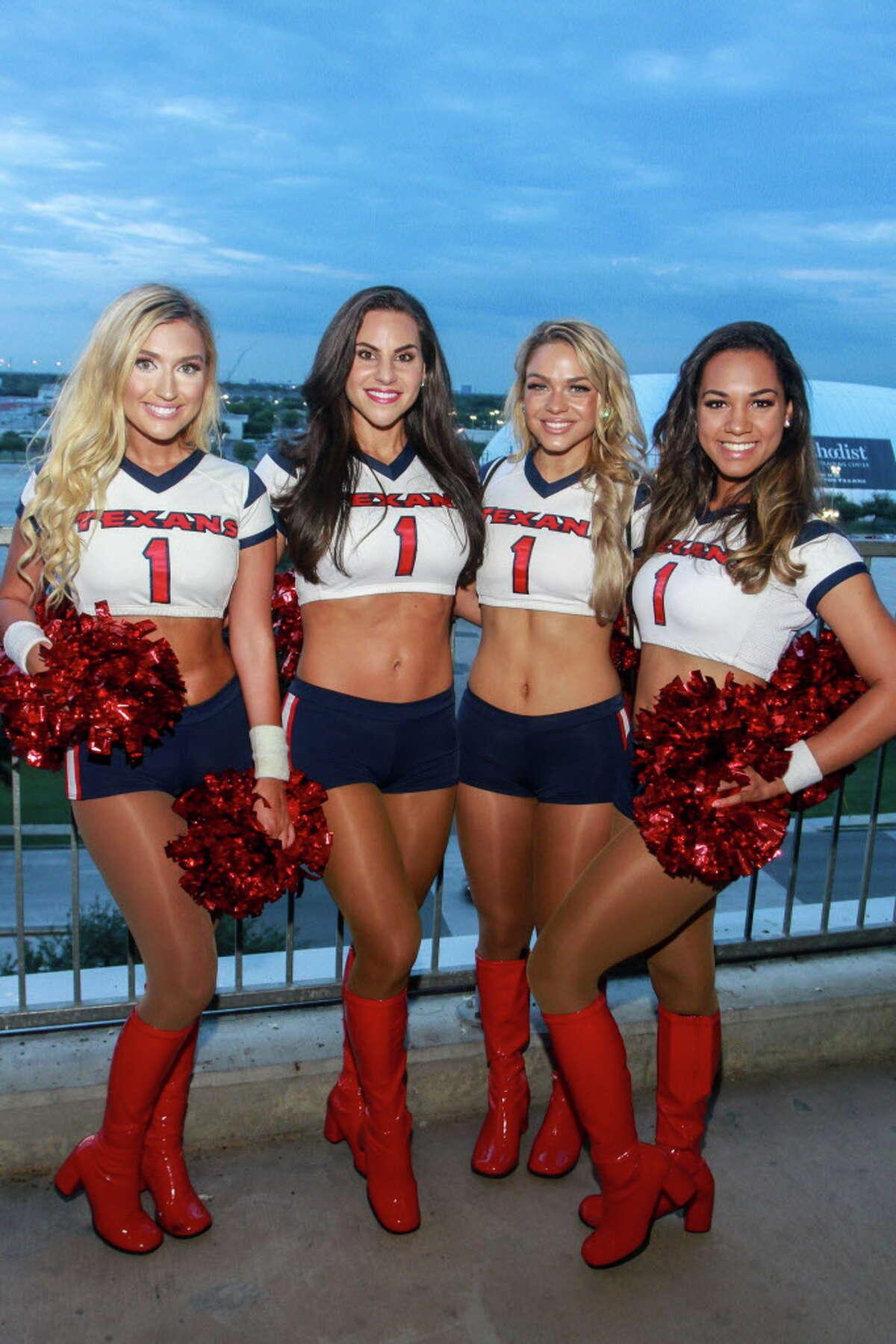 Texan cheerleaders Hannah, from left, Jackie, Meagan and Ashlyn at the Fantasy Football Draft Night at NRG. (For the Chronicle/Gary Fountain, September 26, 2017)