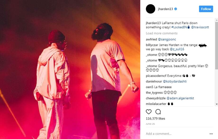 JAMES HARDENJames Harden joined Houston rapper Travis Scott onstage in Paris. Photo: Instagram