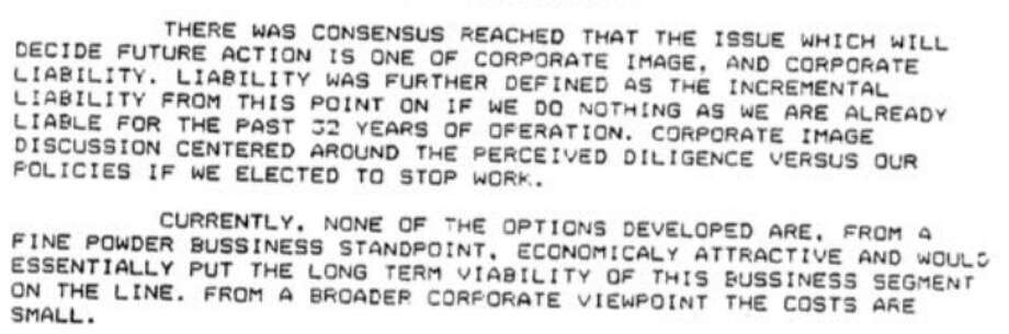 A section of a DuPont meeting memo on C8 from 1984 released as part of litigation settled in 2017.