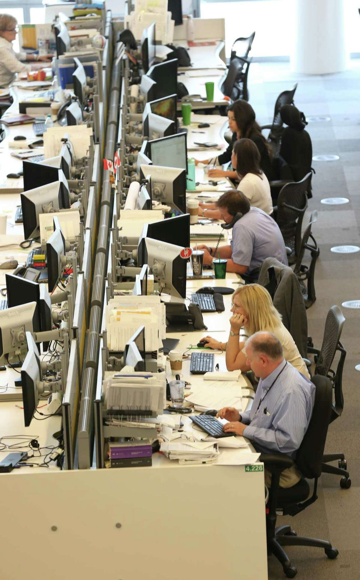 Many of the BP's Helios building trading floor employees have reported back to the campus after Hurricane Harvey Tuesday, Sept. 26, 2017, in Houston. ( Steve Gonzales / Houston Chronicle )
