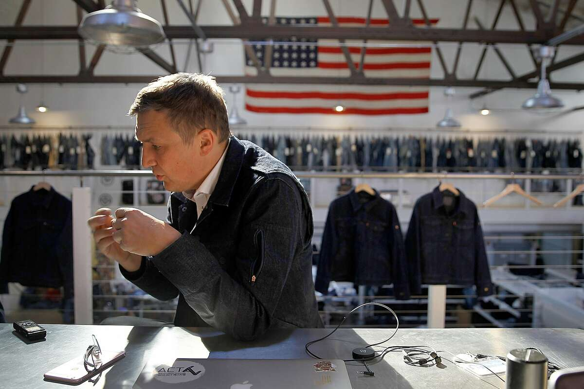 Technical project lead and engineering Jacquard director Ivan Poupyrev talks about Jacquard technology on Levi's� commuter� trucker jacket at the innovation lab on Thursday, September 21, 2017, in San Francisco, Calif.