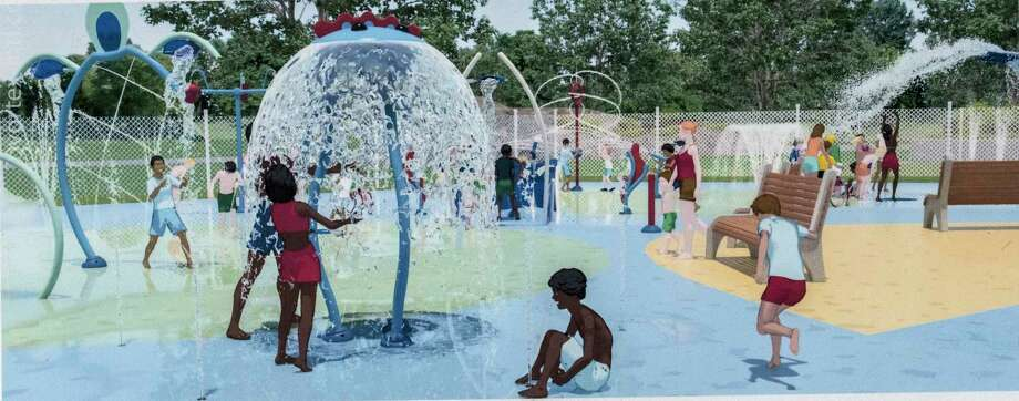 Artists representation of the new splash pad in the Town Park Wednesday Sept. 27, 2017 in Colonie, N.Y. (Skip Dickstein/Times Union) Photo: SKIP DICKSTEIN, Albany Times Union / 40041690A