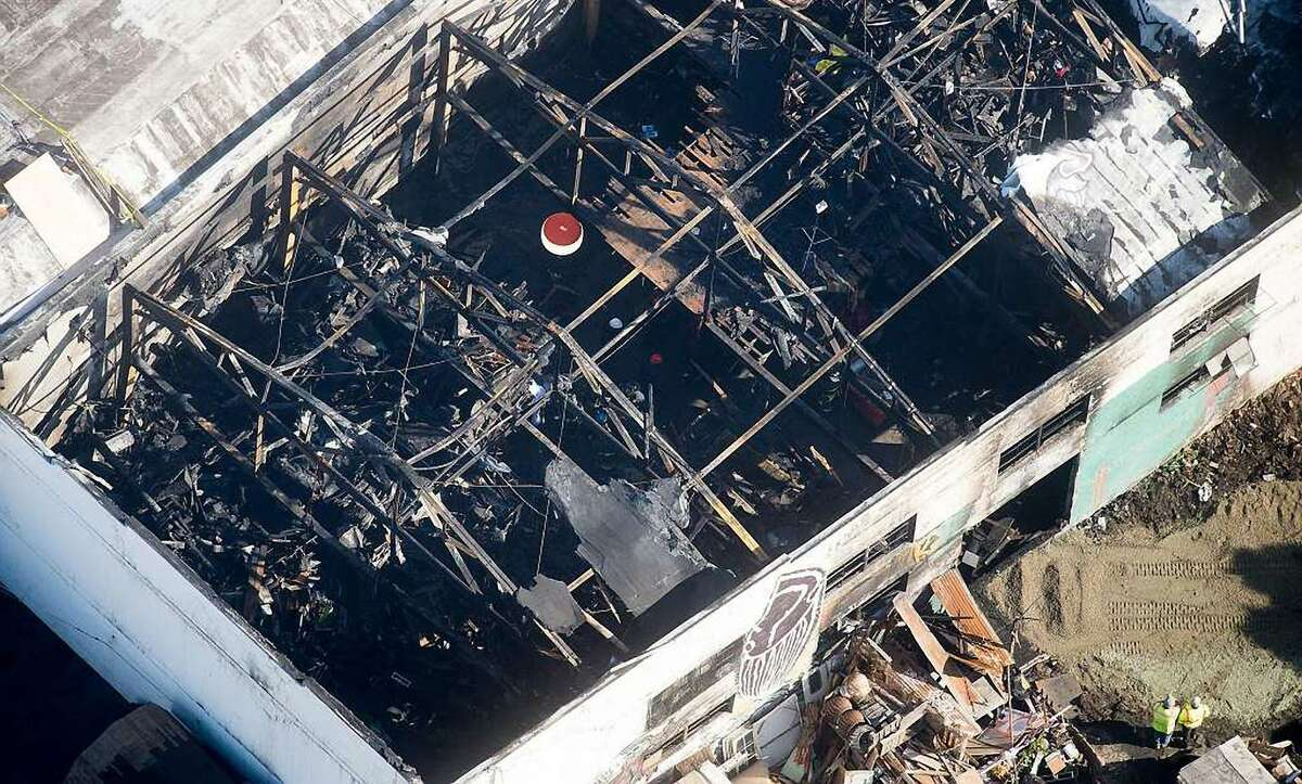 The Ghost Ship warehouse, site of a fire that killed 36 people, is pictured on Sunday, Dec. 4, 2016, in Oakland, Calif.