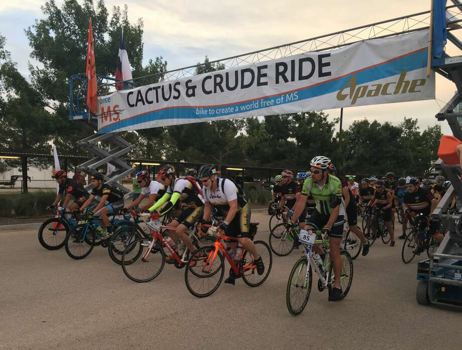 Bicyclists leave from the Apache Corp. parking lot July 15 for the annual Bike MS: Cactus & Crude. Photo: COURTESY PHOTO