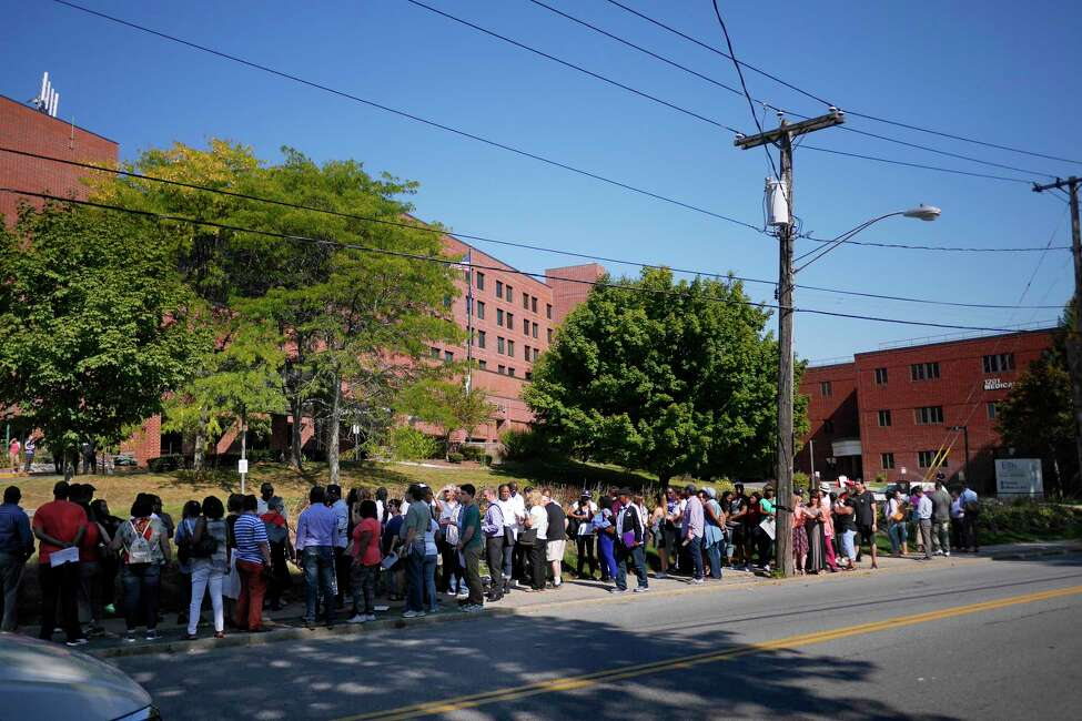 Elected officials, faith leaders, members of the New York State Nurses Association, members of 1199 SEIU and members of the community hold a rally in support of workers at Ellis Hospital on Wednesday, Sept. 27, 2017, in Schenectady, N.Y. (Paul Buckowski / Times Union)