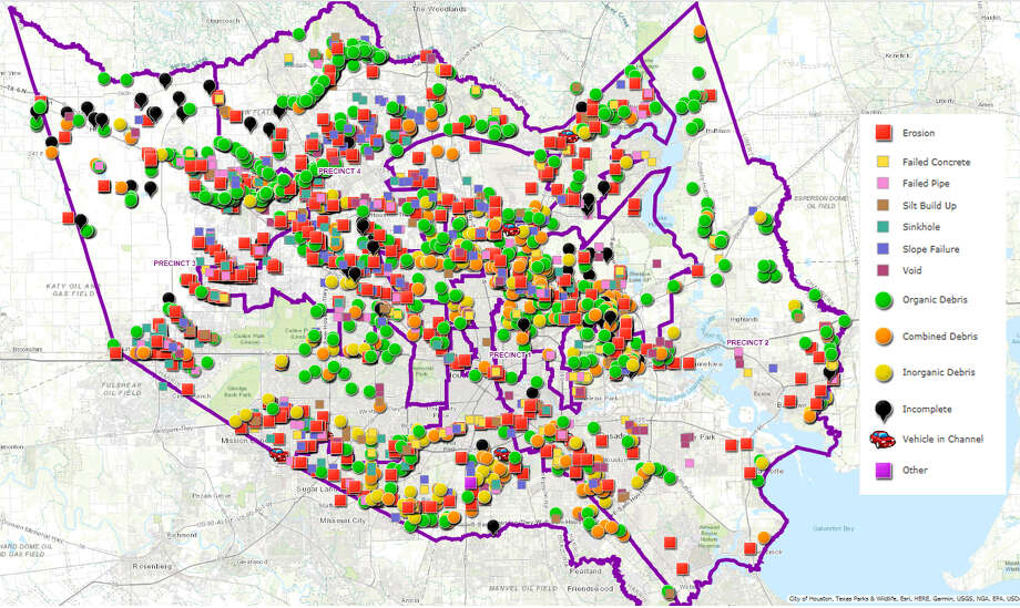 Map Of Houston S Flood Control Infrastructure Shows Areas