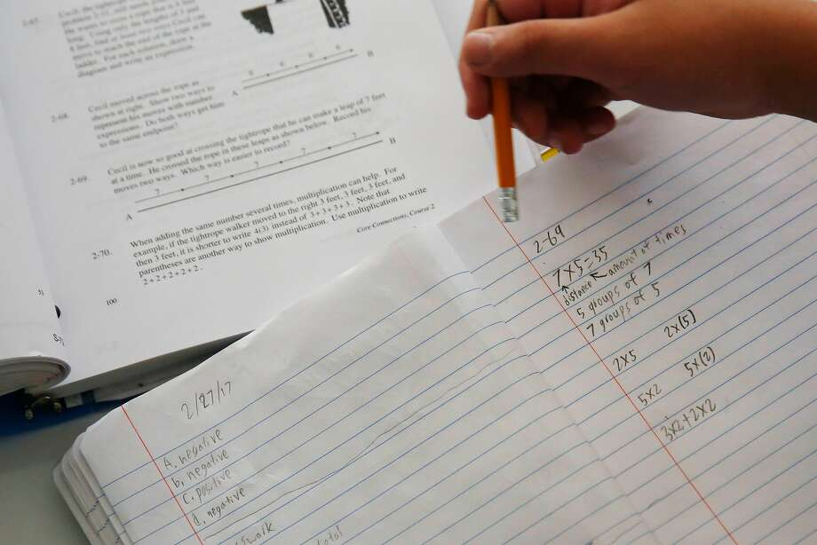 A student works on a class exercise during a math class at Roosevelt Middle School on Wednesday, September 27, 2017 in San Francisco, Calif. Photo: Lea Suzuki, The Chronicle