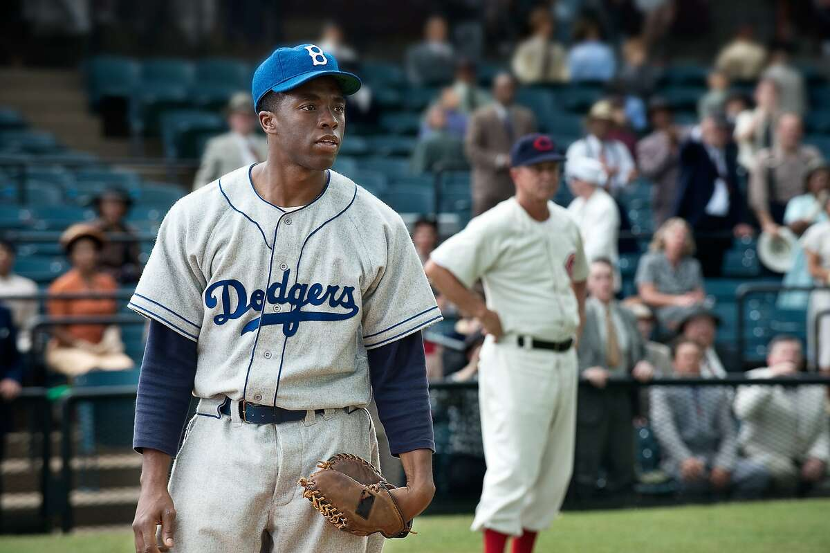 CHADWICK BOSEMAN as Jackie Robinson in Warner Bros. Pictures' and Legendary Pictures' drama