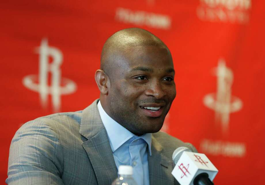P.J. Tucker speaks to the media as  the Houston Rockets introduced him during a press conference after he signed with the team as a free agent at the Toyota Center, Thursday, July, 6, 2017. ( Karen Warren / Houston Chronicle ) Photo: Karen Warren, Staff Photographer / 2017 Houston Chronicle