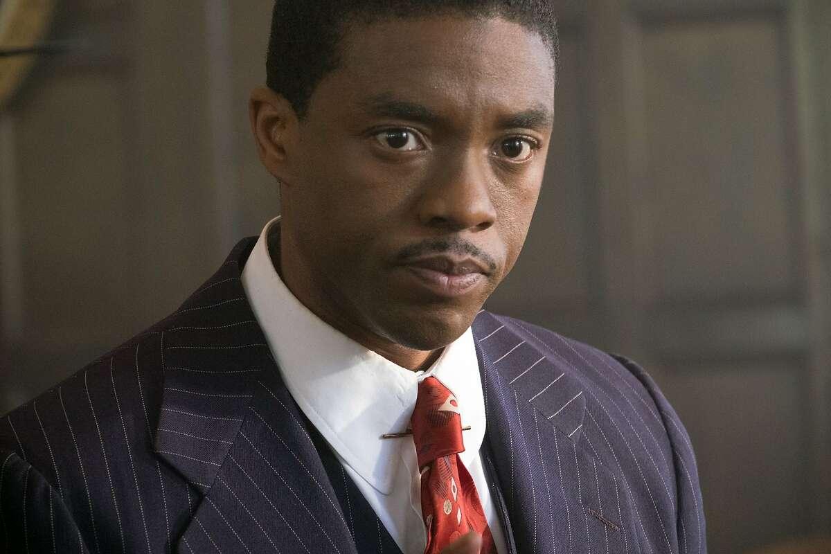 """Chadwick Boseman as Thurgood Marshall in the new movie """"Marshall,"""" directed by Reginald Hudlin. Credit: Barry Wetcher"""