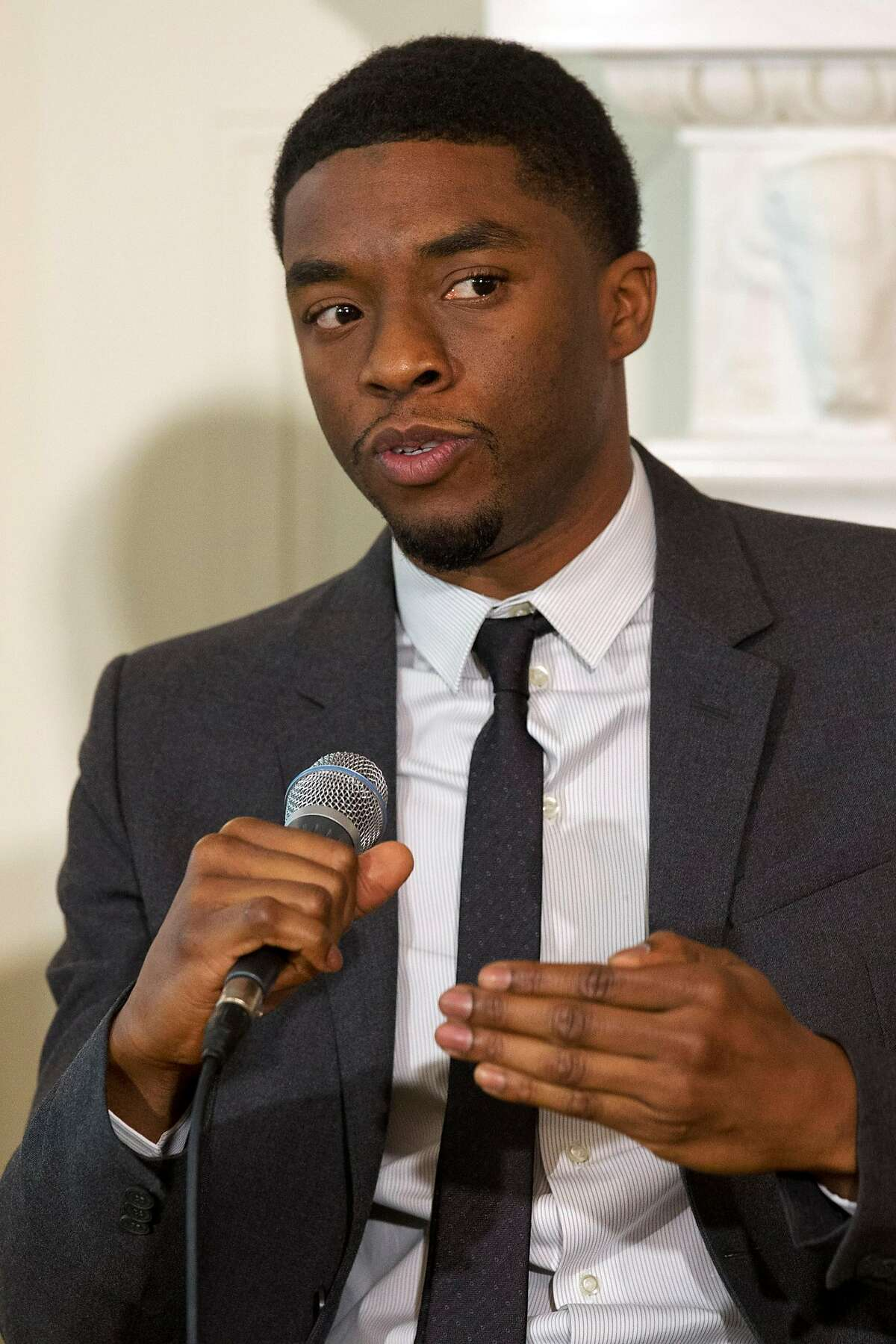 Actor Chadwick Boseman, who plays baseball great Jackie Robinson in the movie