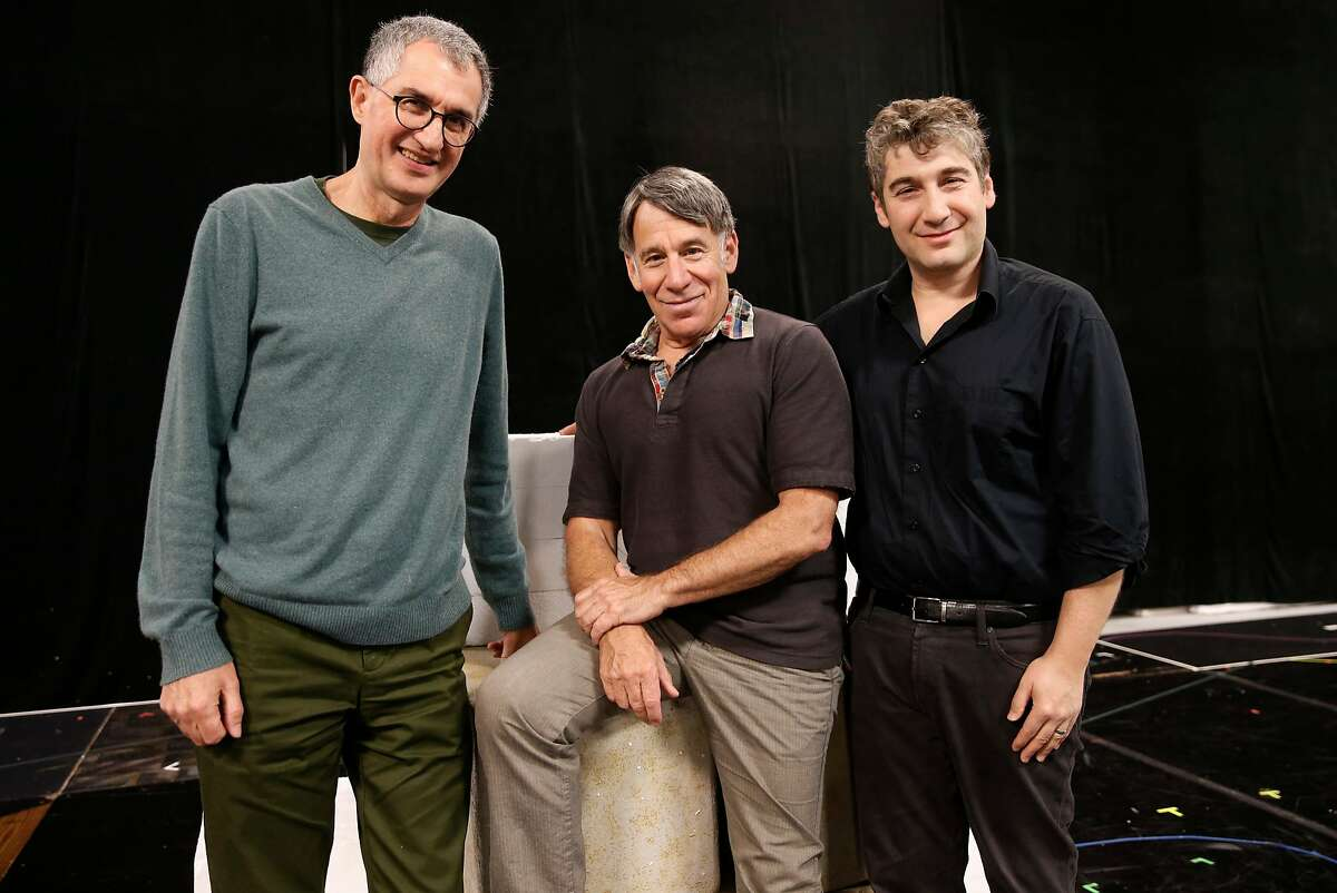"""( l to r) The book's author Philip LaZebnik, Composer, Stephen Schwartz and Scott Schwartz, the director, during rehearsals for the world premiere of the musical """"The Prince of Egypt"""" at TheatreWorks in Redwood City, Ca. on Tues. Sept. 26, 2017."""