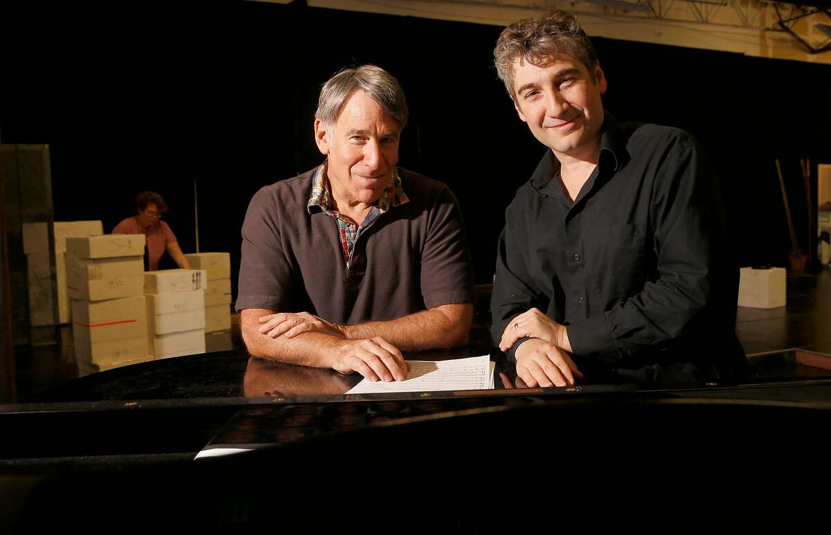 """Composer Stephen Schwartz, (left) and director Scott Schwartz, during rehearsals for the world premiere of the musical """"The Prince of Egypt"""" at TheatreWorks in Redwood City, Ca. on Tues. Sept. 26, 2017."""