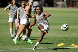 Stanford Cardinal women's soccer player Catarina Macario at Stanford, Ca. on Wed. Sept. 27, 2017, during a recent practice. Stanford freshman Catarina Macario is leading the nation's No. 2 team in scoring.