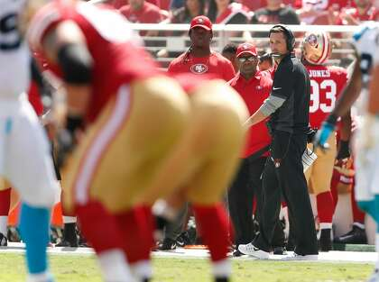 dc1abac443b604 San Francisco 49ers' head coach Kyle Shanahan watches the action during  23-3 loss to Carolina Panthers during NFL game at Levi's Stadium in Santa  Clara, ...