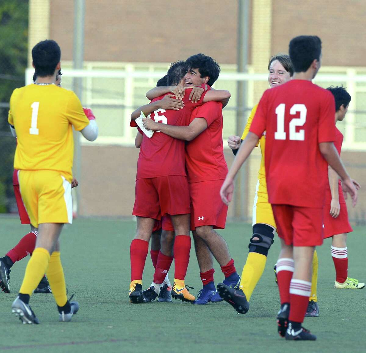 Greenwich celebrates following their 2-1 win against Stamford in a FCIAC boys soccer game at Stamford High School in Stamford, Connecticut on Wednesday, Sept. 27, 2017.