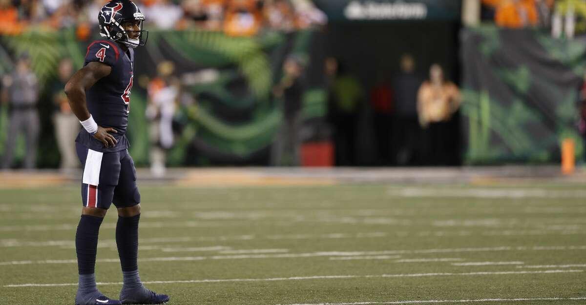 Houston Texans quarterback Deshaun Watson (4) on the field during the third quarter of an NFL football game at Paul Brown Stadium on Thursday, Sept. 14, 2017, in Cincinnati. ( Brett Coomer / Houston Chronicle )