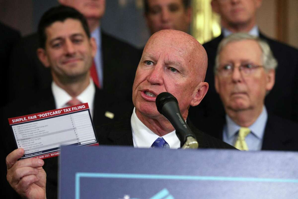 The tax code blueprint, says U.S. Rep. Kevin Brady, R-The Woodlands, could allow most Americans to file tax returns on a form the size of a postcard.