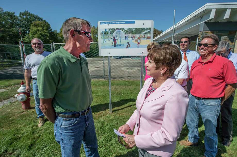 Town of Colonie Supervisor Paula Mahan, right speaks with Bill Neeley, right who has planned for the new splash pad in the Town Park Wednesday Sept. 27, 2017 in Colonie, N.Y. (Skip Dickstein/Times Union) Photo: SKIP DICKSTEIN / 40041690A