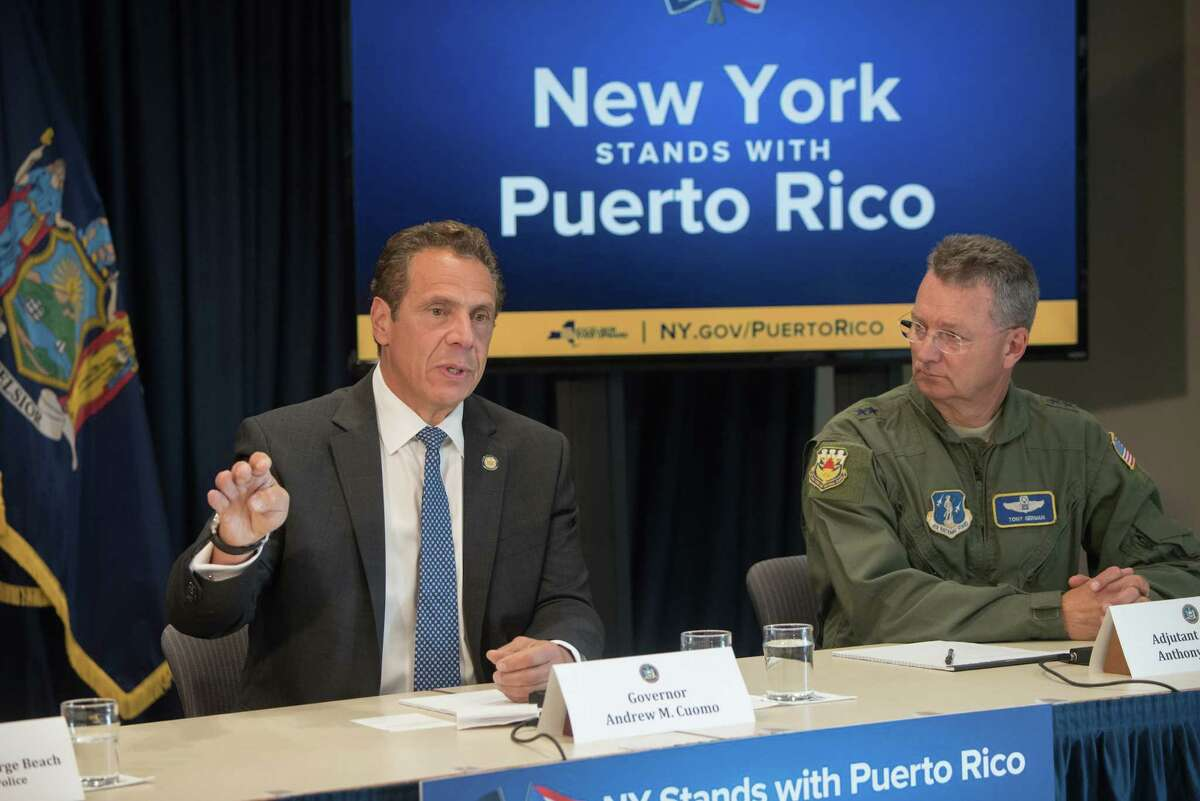 Gov. Andrew Cuomo speaks during a press conference to discuss New York State's role in helping with relief for the humanitarian crisis in Puerto Rico on Wednesday, Sept. 27, 2017, in New York, N.Y. (Office of the Governor)